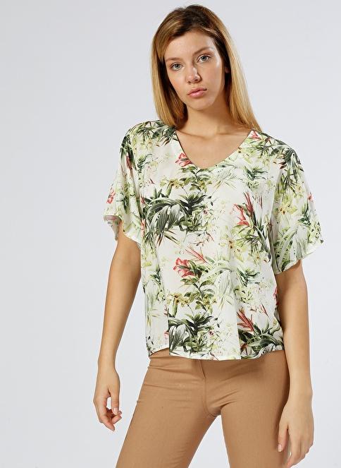 Limon Company V Yaka Çiçekli Bluz Renkli